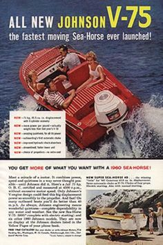 Johnson V-75 Sea-Horse Boating Print Ad Aviation Vintage 1959 Advertisment