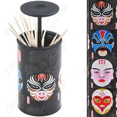 Stylish Journey to the West Theme The Master and Apprentice of Monkey King Face Pattern Toothpick Box - Black HLI-34995