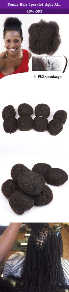 """Yonna Hair 4pcs/lot tight Afro Kinky Bulk Hair 100% Human Hair For DreadLocks,Twist Braids Nautral Color Hair,8"""" inch 4 pcs. Afro Kinky Hair Extension,you can dye and bleach to #27,Yonna Hair Is An American Registered Brand Name We Will Try Our Best To Give You The Excellent Quality And Satisfying Service. Product Introduction: 1)HMaterial: 100% Human Hair(donate by young girls). 2)Material Orgin: Brazilian Hair. 3) Hand Made Sewing by over 6 years experienced workers, stay tight on weft...."""