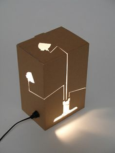 Another great modern design from Dutch design label HUH is this 'Not a Lamp' light. Instead of a lamp in a box, this box is a floor lamp (do you get it? Lamp Light, Light Up, Light Fixture, Desgin, Karton Design, Ok Design, Modern Design, Diy Luminaire, Design Industrial
