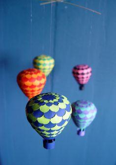 DIY paper craft hot air balloon mobile