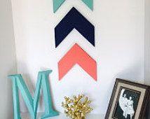 Set of 3 Chevron Arrows - Coral Arrows - Navy Arrows - Teal Arrows - Wall Decor - Wooden Arrow Decor - Tribal Decor