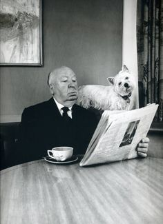 Alfred Hitchcock reads. With dog Friend :-)