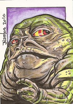 Star Wars - Jabba the Hutt: More Jabba. This is not a real flattering picture, it shows a small inkling of his size which doesn't show the whole giant worm, for lack of a word Princess Leia Slave, Jabba's Palace, Star Wars Jedi, Star Trek, Jabba The Hutt, Star Wars Fan Art, Star Wars Poster, Cool Art, Nice Art