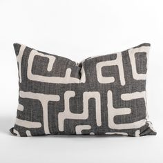 This faded charcoal and sandy beige lumbar pillow will add the graphic impact your space is craving and is the perfect bite-sized piece. The abstract and dynamic pattern has a hand-blocked look, and delivers artisanal flair with a modern edge in a perfectly snack-able size. Lumbar Pillow, Bed Pillows, Occasional Chairs, Pillow Inserts, Diy Room Decor, Decorative Pillows, Swatch, Charcoal, Artisan