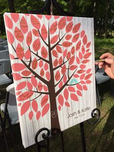 Whitewashed Wooden Wedding Tree Canvas | Guest Book Alternative | 75 Signature Spaces | Signed Peachwik Tree | Rustic Wedding | Customer Photo | Wedding Colors - Coral & Teal | peachwik.com