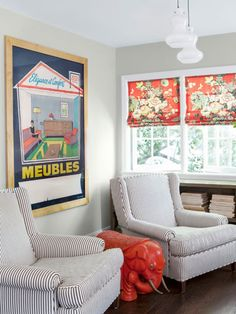 Reupholster armchairs in cotton ticking and fashion the window shades from linen chintz. #decoratingideas
