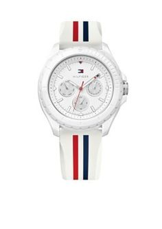 Tommy Hilfiger  Womens Sport Multifunction White Case and Silicone Wat