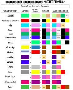 disney princess dress colours - Google Search
