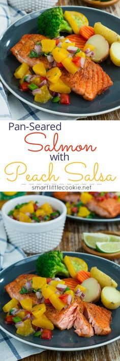 Make this quick, easy and absolutely delicious Pan-Seared Salmon with Peach Salsa and have dinner on the table in 20 minutes or less!