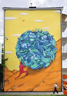 Avantgardens fabebook / . Sisyphus, Ekaterinburg, Russia Mural by Ukranian street duo Interesni Kazki  This mural connects the myth of Sisyphus to consumerism, highlighting the emptiness and futility of accumulating more and more things. Does being trapped in consumerism feel like a punishment from the gods? Or do we have the power to escape from this sentence?