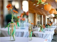 Green and Orange Wedding Decor