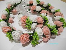 White Women Silk Flower Princess Crown Head Wreath Wristband Set Lady Artificial Foam Flowers Wedding Bridal Crown Bracelet Set Delicious In Taste Apparel Accessories