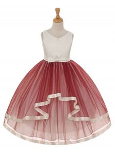 Wine Satin with Mesh Double Layer Skirt Flower Girl Dress (Available in Sizes 2-12 in 6 Colors)