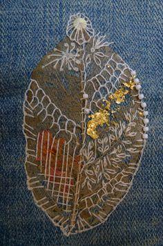 leaf,mixed media,stitch,embroidery