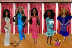 The Prettie Girls dolls shopping spree for prom dresses was very successful. Everyone found something special to wear and also found matching shoes. Thanks to the advice of the Cynthia Bailey doll they're all happy now!