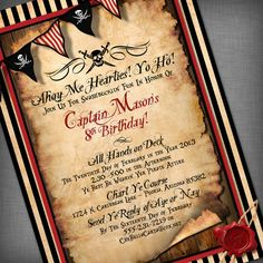 What to Consider in a Pirate Party Invitations : Free Printable Pirate Birthday Party Invitations. party for boys Pirate Birthday Invitations, Party Invitations Kids, Birthday Invitation Templates, Printable Invitations, Invitation Cards, Wedding Invitations, Caribbean Party, Whatsapp Text, Party Fiesta