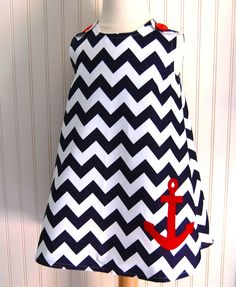 Anchor Chevron Dress in Navy Blue and Red - Jumper sizes 12 to 18mos, 2T, 3, 4, 5, 6, 7 by The Trendy Tot. $52.00, via Etsy.
