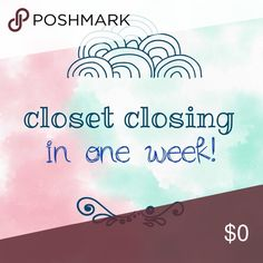 Closet temporarily closing in one week! Hi all! I'll be closing my closet in a week to go on a temporary hiatus from Poshmark. Please feel free to make any purchases or submit offers before then! As some of you know, I'm a full-time graduate student & work another part-time job so things have been increasingly busy & I won't be able to devote as much time to Poshmark. I'll reopen in a few months! If there are any items you are interested in please like them, leave a comment, & I will tag you…