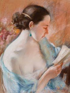 Hornung, Charles Emile Moise (1883-1956) Jeune femme à la chevelure noire et à la boucle d'oreille émeraude lisant une lettre