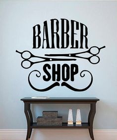 Barber shop wall vinyl decal barber shop wall by kellywallstickers logo bar Egg Swing Chair, Barber Logo, Barber Shop Decor, Barbershop Design, Bath And Beyond Coupon, Barber Chair, Salon Design, Vinyl Wall Decals, Mailbox Decals