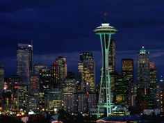 Skyline at Night with Space Needle Tower Seattle, Washington, USA Photographic Print