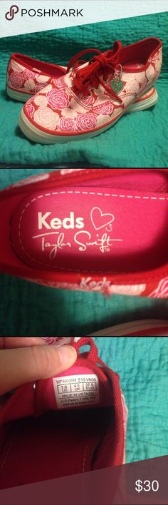 Taylor Swift Keds! Like new Taylor Swift Rose print Keds! I think I worn these one time on Valentine's Day! These adorable light pink and hot pink Keds are for any tennis shoe lover! Very light weight and comfy fit.  Size 7 and they are true to size. Keds Shoes Sneakers