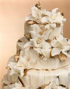 Wedding, Cake, Gold