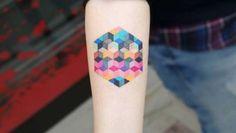 Colorful geometric cube tatto