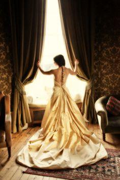 White and Gold Wedding. Sweetheart Corset Ballgown Dress. The Goddess. £650.00, via Etsy.