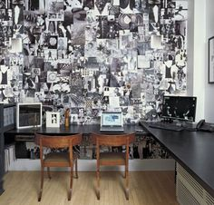 A black-and-white collage by Robert Greene covers a wall of designer Paula Caravelli's office in her home on Manhattan's Upper East Side. The circa-1845 klismos chairs are Danish and the laminate desk is custom made.