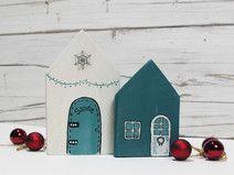 vintage weihnachtsdeko winterdeko holz h uschen set weihnachtsdeko ein designerst ck von. Black Bedroom Furniture Sets. Home Design Ideas