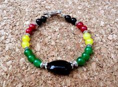 Genuine Black Onyx Jade Antique Silver Rastafarian by IslandGirl77, $19.99