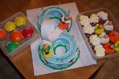 make a 3 roller coaster cake...Carnival theme - Used 2 bundt cakes to make my son's figure 8. Then used roller coaster idea for the carnival themed party and cupcakes to have extras.