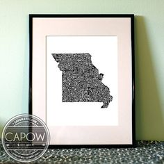 Missouri  typography map art print 8x10  customizable by CAPow, $25.00