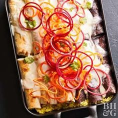 If you can't find purple corn tortillas, feel free to use any color of tortillas for this chicken Enchilada Casserole. The mix of flour and corn tortillas offers the best texture, however, so aim for half and half of each.