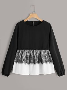 Check out this Contrast Lace Keyhole Back Peplum Blouse on Shein and explore more to meet your fashion needs! Girls Fashion Clothes, Teen Fashion Outfits, Hijab Fashion, Girl Fashion, Casual Outfits, Fashion Dresses, Stylish Dress Designs, Designs For Dresses, Stylish Dresses