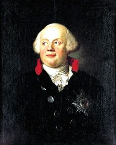 c. 1792: Frederick Wilhelm II. (r. 1786-1797) by Anton Graff (Swiss, painter 1736-1813). Unlike his uncle, Frederick the Great, Frederick Wilhelm relaxed conditions in Prussia and had little interest in war. He delegated responsibility to the aged Charles William Ferdinand, Duke of Brunswick, and the army began to degrade in quality. Led by veterans of the Silesian Wars, the Prussian Army was ill-equipped to deal with Revolutionary France. (Wikipedia)