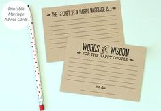 DIY marriage advice cards for your wedding reception: Love vs. Design / TheKnot.com FREE PRINTABLE