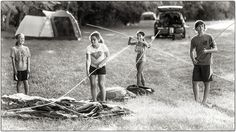 Setting up tents for camping. Antietam. Maryland film photographer.
