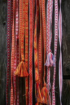 WHAT: Sami woven bands WHY: Used to compliment Latvian folk dresses each band has a symbol which represents the power of it for example it could be luck, protection from evil or love. Inkle Weaving, Inkle Loom, Card Weaving, Iron Age, Folklore, Peruvian Textiles, Viking Dress, Swedish Design, Hardanger
