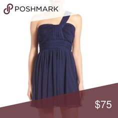 Steppin Out One Shoulder Skater Dress A ruched, one shoulder bodice makes a charming start on a party perfect skater dress fashioned with a flippy, high-waisted skirt. Steppin Out Dresses One Shoulder