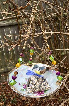Vintage Bowl Bird Feeder Recycled Dish Feeder by mscenna on Etsy