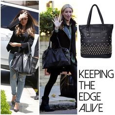 Khloe Kardashian and Denise van Outen keep it practical with an edge with studded tote bags! Get their look with our lunching ladies bag at http://bit.ly/1rbk648