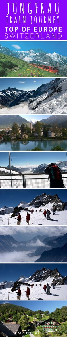 Jungfrau Mountain train journey in Switzerland. Magnificent peaks tower like white citadels against the brilliant blue sky while the long frosty tongue of the Aletsch Glacier reaches out into a never-ending white valley. It's amazing!