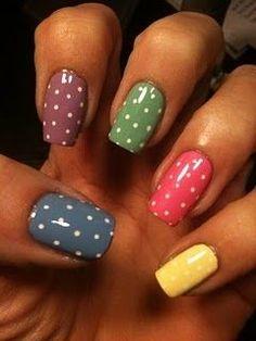Nail Art Designs 💅 - Cute nails, Nail art designs and Pretty nails. Get Nails, Fancy Nails, How To Do Nails, Pretty Nails, Nice Nails, Simple Nails, Nail Art Designs, Chloe Nails, Polka Dot Nails