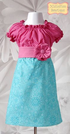 Aqua and pink children's peasant Little Girl Dresses, Girls Dresses, Summer Dresses, Baby Dresses, Kids Outfits, Cute Outfits, Structured Dress, Diy Dress, Dress With Bow