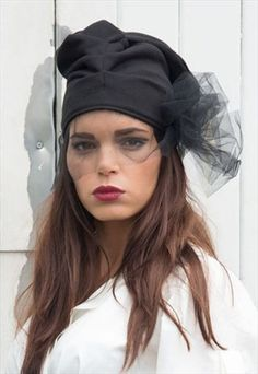 Beanie with veil, black veil, black hat, casual hat, urban street look, extravagant hat, draped hat