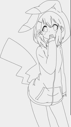 Chibi Sketch, Anime Sketch, Drawing Base, Manga Drawing, Art Drawings Sketches Simple, Cute Drawings, Cute Coloring Pages, Coloring Books, Chibi Neko