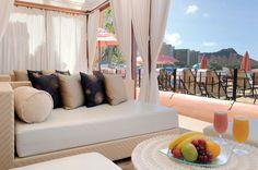 Oceanfront Cabana at The Royal Hawaiian Hotel in Honolulu on Waikiki Beach